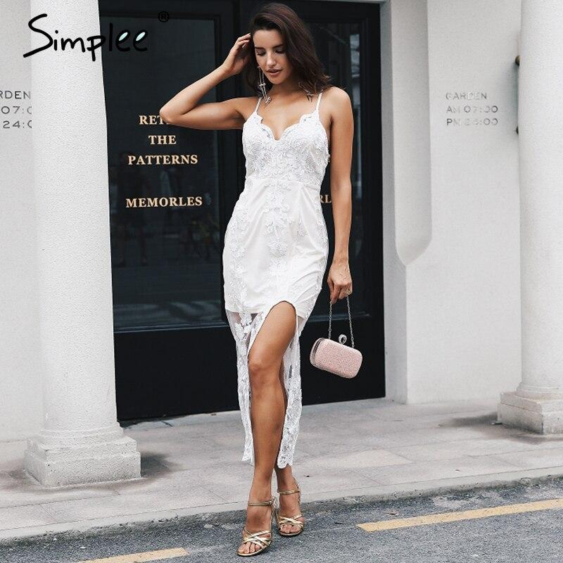 Простая вышивка, v-образный вырез, открытая спина, длинное летнее платье, женское Сексуальное Кружевное белое платье с разрезом, ремень, обле...