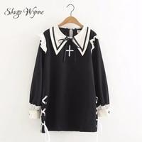 Shugo Wynne Japanese Style Vintage Lolita Dresses Long Sleeve Cross Embroidery Lacing Dress Black Pink Vestido