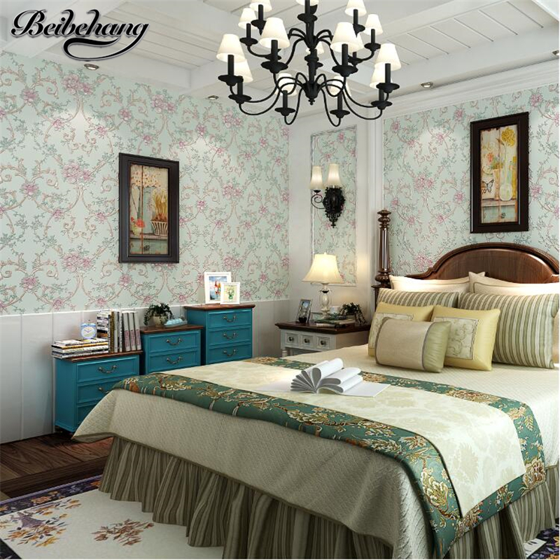 beibehang European Stereo Rugged Pastoral Flower Fine Wallpaper Bedroom Living Room TV Sofa Background Wallpaper Papel de parede beibehang simple pastoral stereo