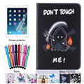 For Samsung Galaxy Tab A 8.0 T350 T355 Case Fashion Cartoon Painting PU Leather Tablet Stand Smart Cover + screen film + stylus