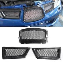 цена на Mayitr 3pcs/set Carbon Fiber Front Auto Mesh Grille For Subaru Impreza WRX STi 9th 2006-2007 Car Styling