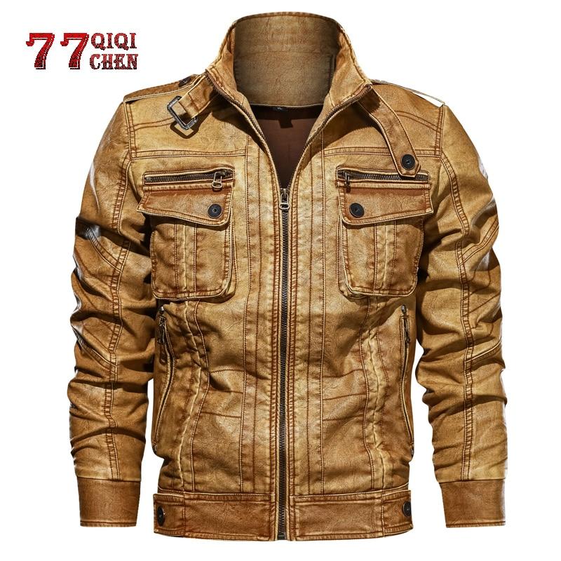 Leather Jacket Men 2019 New Casual PU Motorcycle Leather Jackets Male Jaqueta Couro Masculina Plus Size 6XL Jacket Pocket Coats