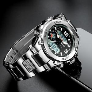 Image 4 - Relógios de pulso dos homens dos esportes led digital relógio de quartzo prata moda à prova dwaterproof água relógio topo marca de luxo cronógrafo masculino relógios