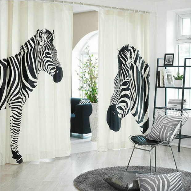 Cartoon Trees Curtains For Bedroom Cotton Linen Towel: Fashion Zebra Blackout Thicker Soundproof Cartoon