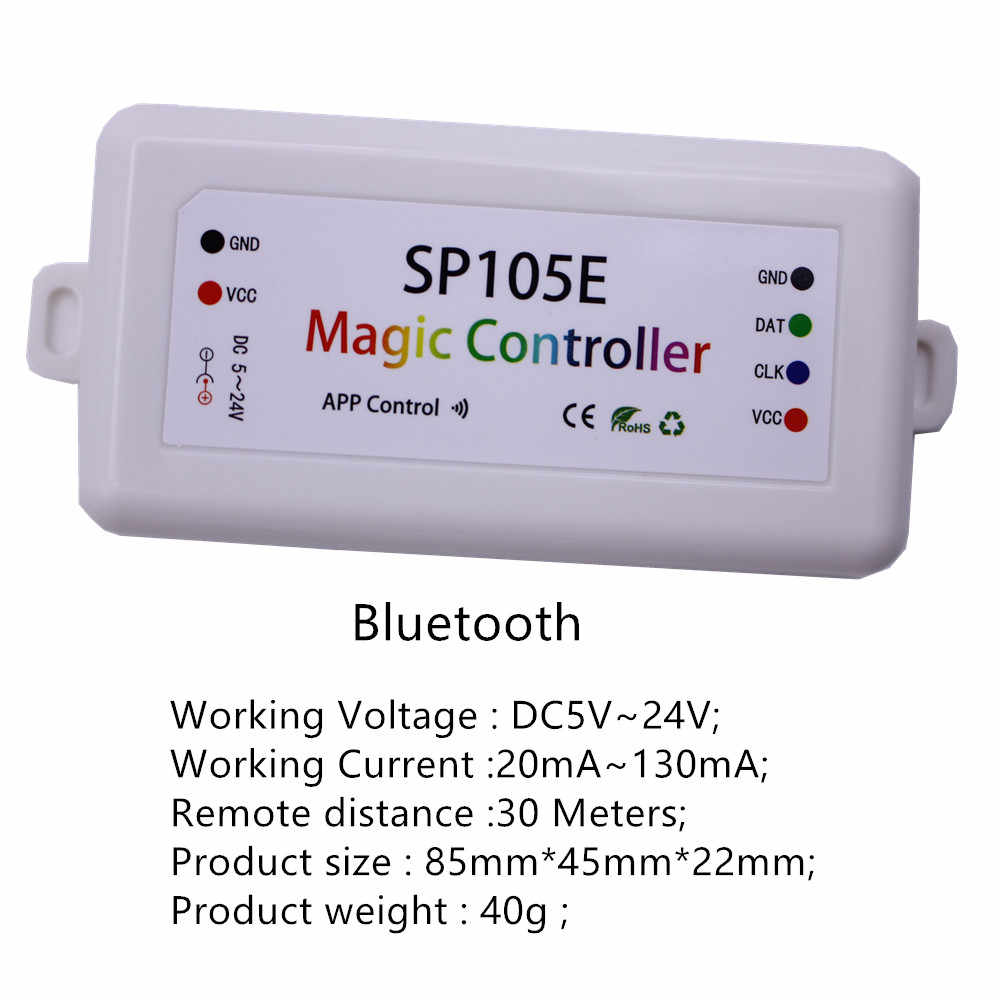 SP105E SP108E Magic Controller Bluetooth DC5-24V 2048 Pixels for WS2811  2812 2801 6803 IC LED Strip Support IOS / Android APP
