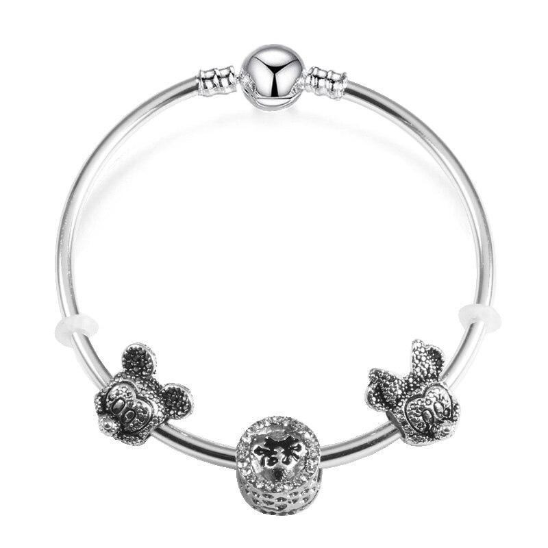 JUNESNOW Childrens Fashion Jewelry Mickey Crystal Pandora Bracelet For Women Charm Bracelets Bangles Handmade Jewelry Pulseras