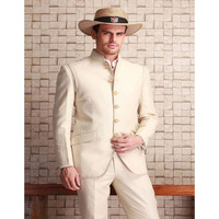 Simple Fashion Stand Collar Beige Men Suits For Beach Wedding Men's Vacation Suit 2017 New Custom Marige Homme (Jacket+Pants)