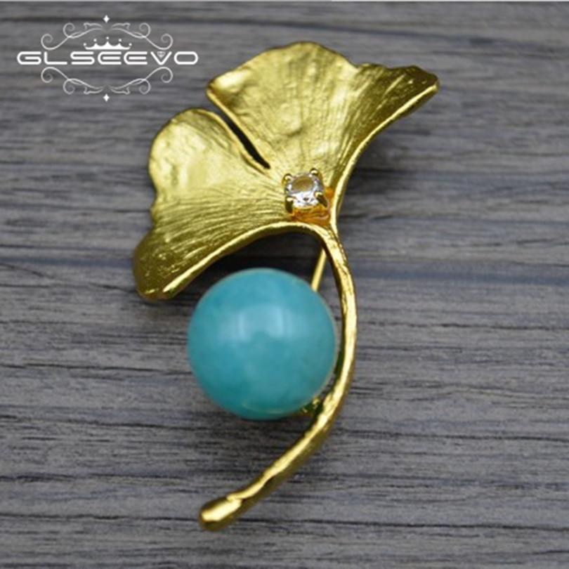 купить GLSEEVO 925 Sterling Silver Natural Amazonite Ginkgo Biloba Brooch Pins Brooches For Women Dual Use Luxury Fine Jewelry GO0270 онлайн
