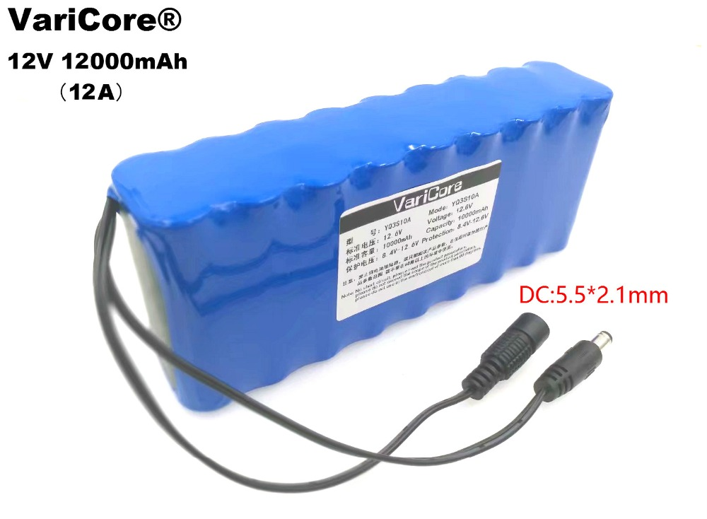 VariCore grande capacité nouvelle batterie 12 V 12000 mAh 18650 Li Ion 12Ah moniteur/caméra batterie avec PCB