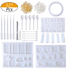127pcs Pendant Making Silicone Molds Tools Set Stirrers Spoons Twist Drill Screw Eye Pins DIY Resin Moulds Jewelry Making