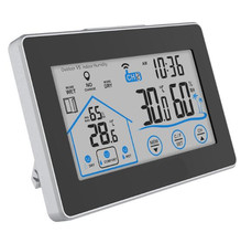 Touch Indoor Outdoor Digital  Lcd Weather Station Temperature Humidity Meter Wireless Sensor Hygrometer Clock Thermometer