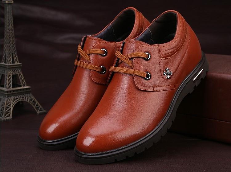 Haute qualité en cuir véritable chaussures pour hommes marcher plus grand 7 CM, décontracté augmenter élévation chaussures baskets homme chaussures - 6