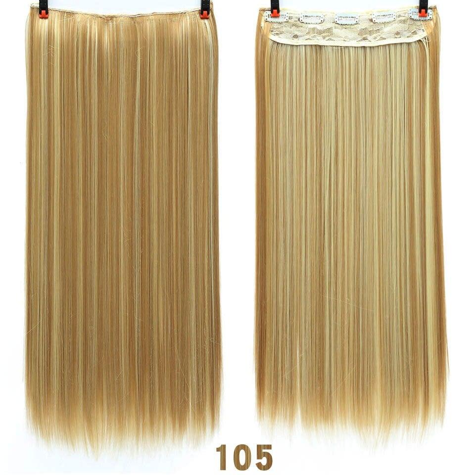 SHANGKE волосы 24 ''длинные прямые женские волосы на заколках для наращивания черный коричневый высокая температура Синтетические волосы кусок - Цвет: 105