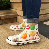 Wen Design Custom White Original Hand Painted Shoes Ice Cream Women Men's High Top Canvas Sneakers Gifts for Boys Girls