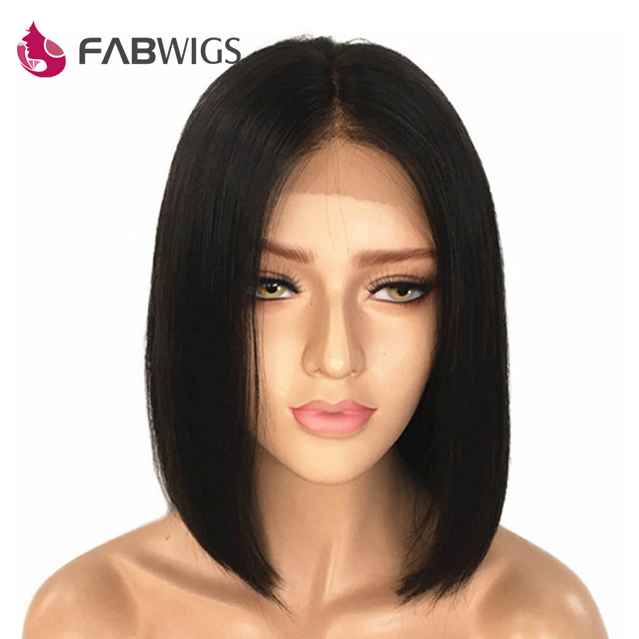 Fabwigs Short Lace Front Human Hair Wigs with Baby Hair Brazilian Straight Bob Lace Front Wigs