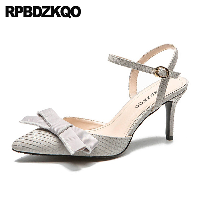 Pointed Toe Women Leather Grey Shoes 2018 Strap Kawaii Size 4 34 Snakeskin  High Heels Closed Bow Cute Pumps Thin Snake Sandals 2c8a1d919488