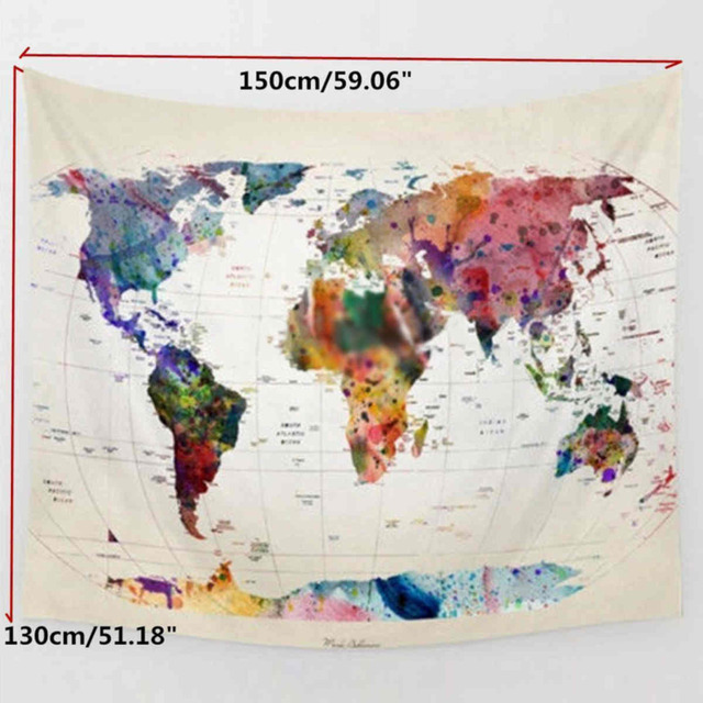 1pc Vintage World Map Tapestry Wall Hanging Tapestry Bedspread
