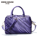 Emini house limitada de tejer a mano de piel de oveja bolsa de hombro moda mujeres de lujo bolso de asas casual bolsas mensajero de las mujeres