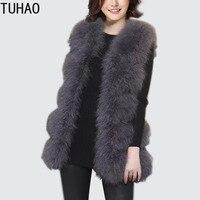 TUHAO 2018 Autumn Winter Women Elegant Ostrich Fur Jacket Office Aldy Female Faux Fur Coat Long Trim Vest Fluffy Jacket Coats