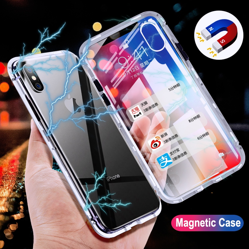 pretty nice d4f29 f4307 Metal Magnetic Adsorption Samsung S7 Edge Clear Tempered Glass Magnet  Samsung Galaxy S8 S9 Plus Note 8 9 Cover