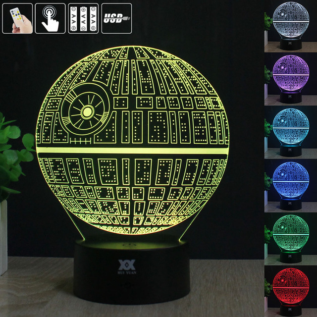 3D Illusion Star Wars Death Star Remote Control LED Desk Table Night Light  7 Color Touch Lamp Kids Children  Family HolidayGift