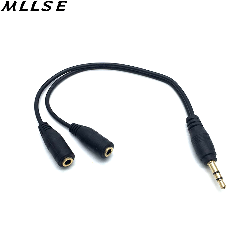 MLLSE Black 3.5mm Stereo 1 Male To 2 Female Audio Y Splitter Cable Cord Adapter for IPhone IPad MacBook Windows Smartphones