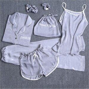 Image 2 - ملابس داخلية مثيرة للسيدات من Daeyard طقم كامي مكون من 7 قطع ملابس نوم منزلية صيفية بيجاما نسائية نايتي ملابس نوم طقم بيجاما غير رسمية