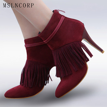plus size 34-45 New Women Ankle Boots Spring Autumn Fringe Stiletto High Heels Boots Ladies Fashion Gladiator Tassel Shoes Woman цена
