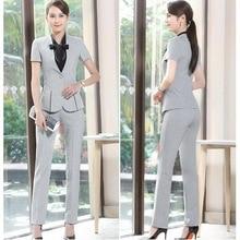 Summer Slim Work Wear Women Trouser Jacket OL Fashion Formal Blazer With Pant Set Plus Size Office Business Suit Pants Female