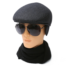 bff04519a962a Autumn warm ear duck tongue cap for middle-aged old men. Winter woolen hat  for men