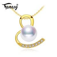 FENASY 18 K золото круглый жемчуг кулон ожерелье для женщин, ювелирные изделия 18 k желтое золото ожерелье и кулон для влюбленных кулон сердце