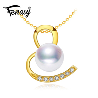 FENASY 18K Gold Pendant Natural Akoya Pearl Charms Au750 Yellow Gold Wedding Engagement Jewelry With 925 Silver Necklace