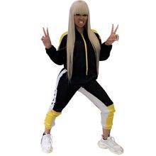 Stretch Fabric Women Sets Zipper Front Crop Tops Elastic Waist Package Hip Pants Autumn Winter 2