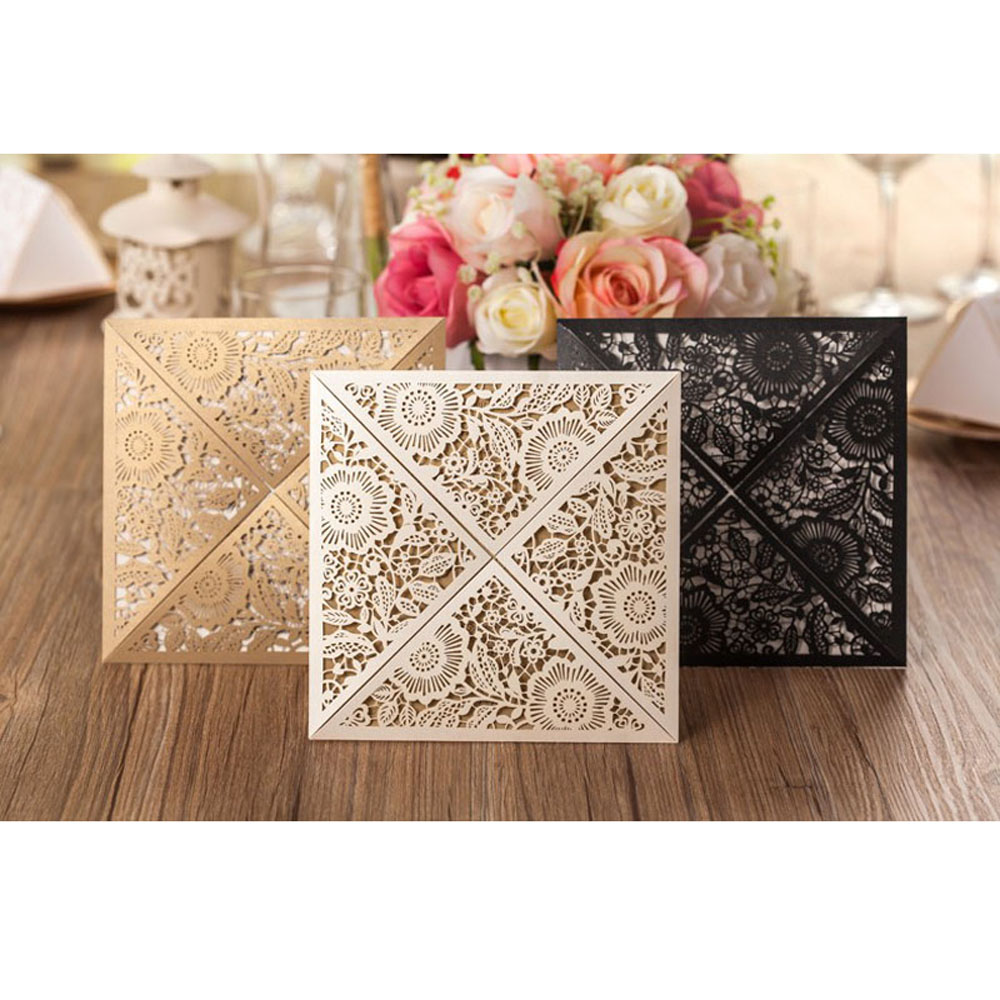 Free shipping 10pcs/Lot Design Rustic Gold Wedding Invitations Laser Cut Invitation Cards With Insert Paper Blank Card Envelope square design white laser cut invitations kit blanl paper printing wedding invitation card set send envelope casamento convite