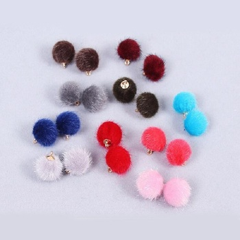 Fashion 10 colors Fur Covered Ball beads For DIY gift craft new wh image