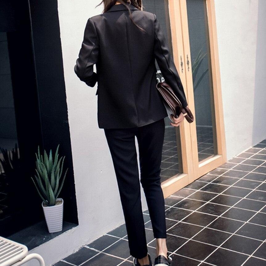 Adatta Set Del Donne Blazer Lavoro New Femminile Black grey Manica Delle Pantaloni Nero Ol Usura Eleganti Ufficio Con Formale Lunga Grigio U1Tz1Xx