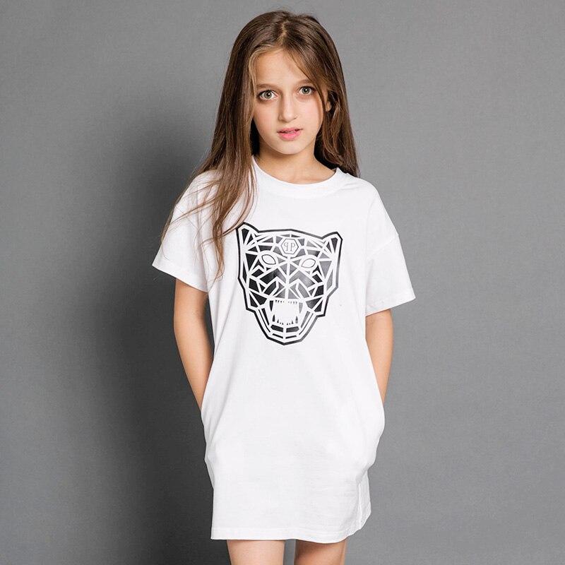 2017 Spring Summer Girls Korean Dress Kid Loose Straight -5163