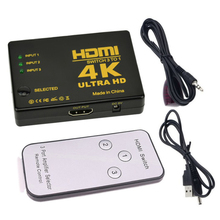 HDMI Switch 3 Port 4K*2K 1080P Switcher Splitter Box 3 in 1 out Ultra HD for DVD HDTV Xbox PS3 PS4 with remote controller robotsky hdmi switcher 3 port 1080p video hdmi switch switcher splitter ir remote for hdtv ps3 dvd top quality