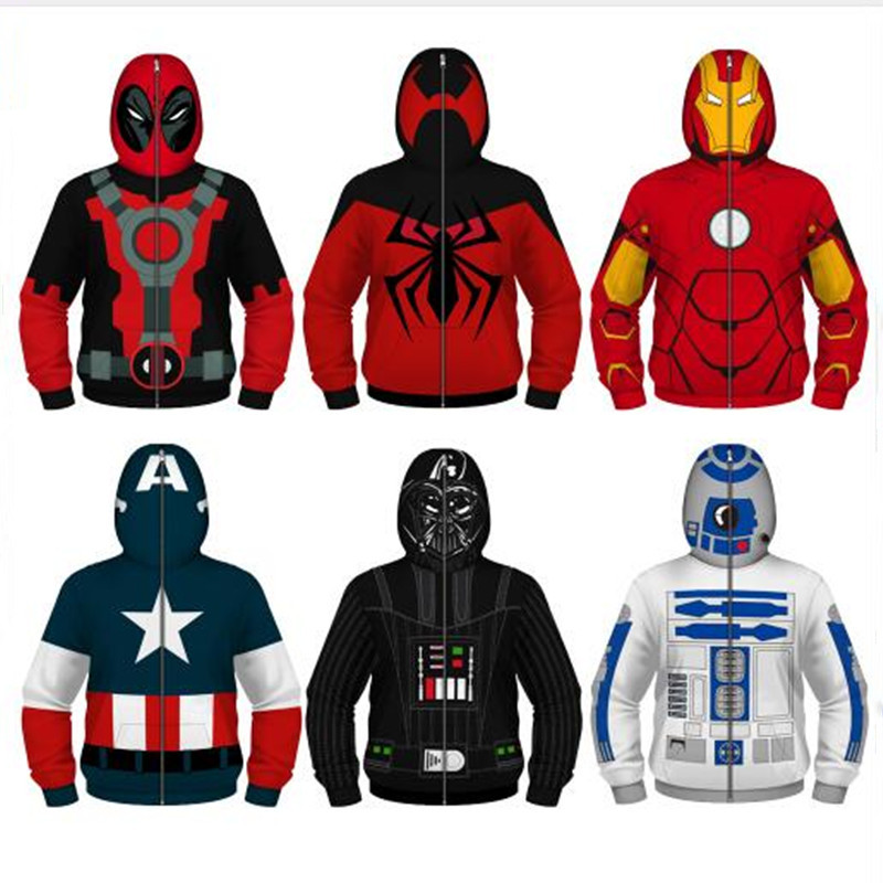 Jacket Coats Hoodies Spiderman Boys Sweatshirt Avengers Playing Captain-America Star-Wars title=