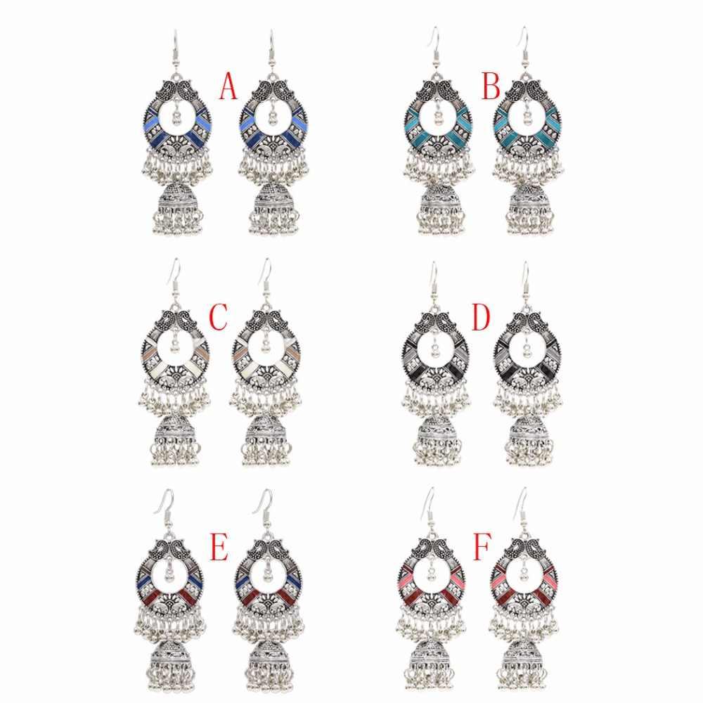 Egipt Vintage stop srebra Jhumka Bells koraliki wiszące kolczyki z frędzlami dla kobiet turecki Tribal Gypsy Indian biżuteria Party