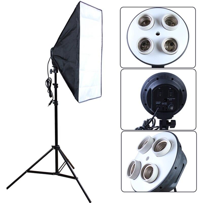 Фото Студийный рассеиватель 100-240 v софтбокс 4-лампа-держатель розетка с 50*70 см непрерывный освещения включают Свет Стенд