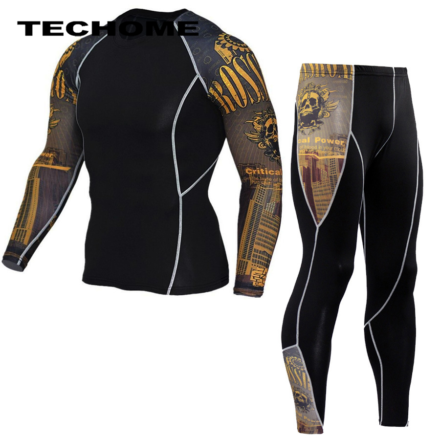 2017 New Fitness Men Camouflage Sets Bodybuilding Long Sleeve T Shirt + Long Quick Dry Tracksuit Crossfit Tights Brand Clothing