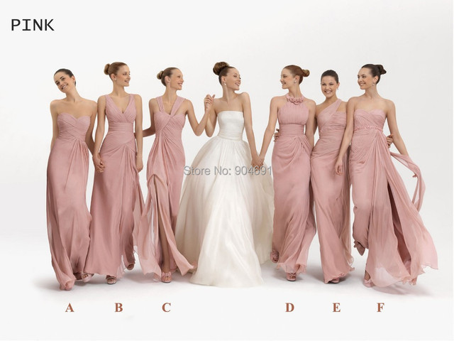 2015 New Bridesmaid Dresses Long A-line Chiffon Gowns Blush Pink Nude Lilac  Orange Green Lavender Formal Dresses B6412 78e0d9f411db