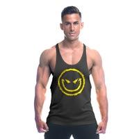 Gyms Tank Top Men Blank Bodybuilding Clothing Stringer Singlets Fitness Men Smile Logo Sleeveless Vest Cotton