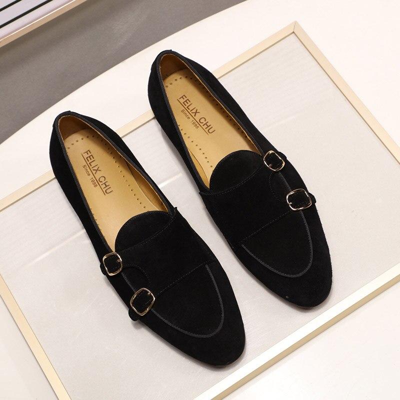Модные дизайнерские Замшевые мужские лоферы; цвет черный, коричневый, зеленый; повседневные модельные туфли для свадебной вечеринки; мужские туфли с ремешком; размеры 39 46 - 6