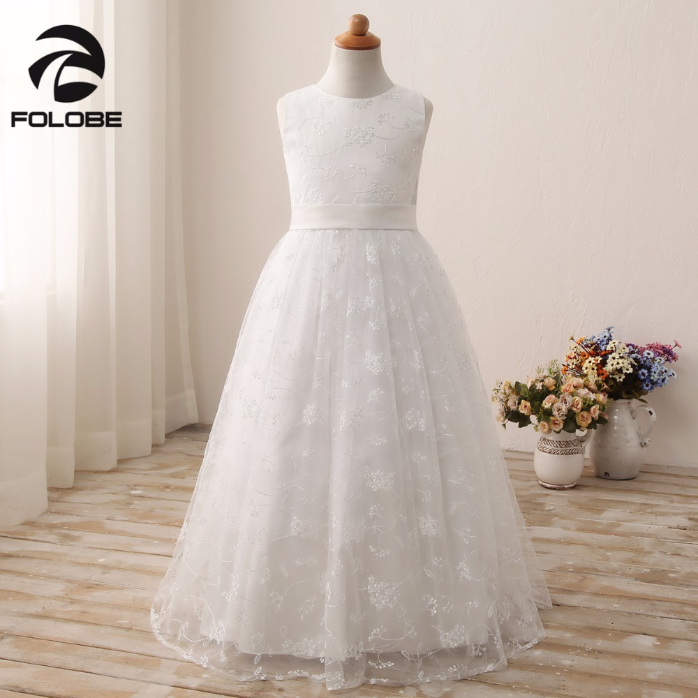 Sweet Ivory/White Lace Vestidos A-line Long   Flower     Girls     Dresses   For Wedding First Communion   Girls   Prom Party   Dresses