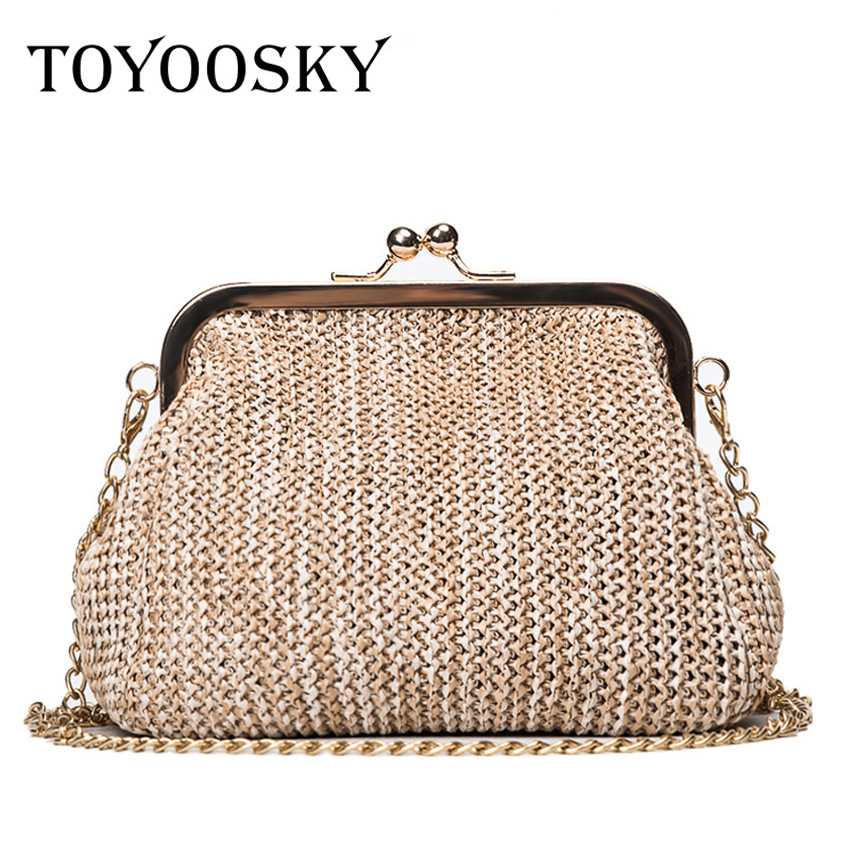 TOYOOSKY Summer style women handbag fashion straw shell bags ladies beach bag leisure small chain kiss lock shoulder bag beach straw bags women appliques beach bag snakeskin handbags summer 2017 vintage python pattern crossbody bag