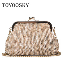 TOYOOSKY Summer style women handbag fashion straw shell bags ladies beach bag leisure small chain kiss lock shoulder bag 2017 summer transparent chain bag and snakeskin print clutch 2 bags set chain shell hand bag fashion shoulder beach bags women