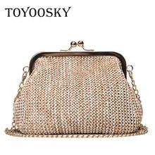 TOYOOSKY Summer style women handbag fashion straw shell bags ladies beach bag leisure small chain kiss lock shoulder bag недорго, оригинальная цена