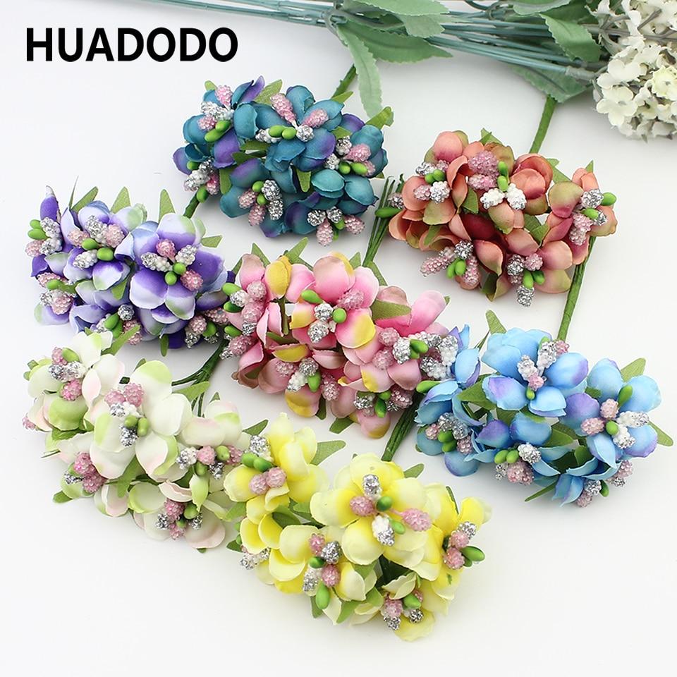6pcs 3cm Artificial Stamen Bud Berry Artificial flowers for Wedding Candy Box Decoration Scrapbooking DIY wreaths Fake Flowers